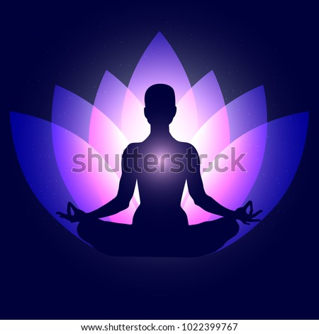 Human body in yoga lotus asana on neon purple lotus petals and dark blue space with stars background. Vector illustration eps10. International Yoga Day