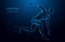 Human body low poly wireframe.  Athlete, Running man from triangles, low poly style. sport concept. human anatomy. Vector polygonal futuristic image. Polygonal wireframe mesh art.