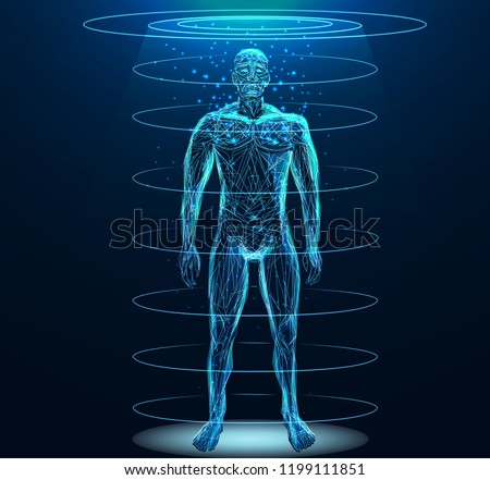 Human body low poly wireframe. Low poly wireframe mesh with scattered particles and light effects on dark background. Stockfoto ©