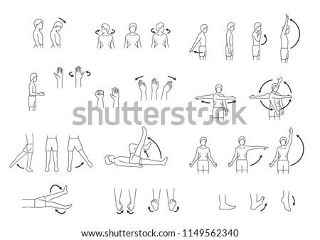 human body movement icon set