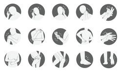 human body pain icon set, flat black and white in circle frame design