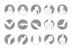 human body pain icon set, flat design in circle frame