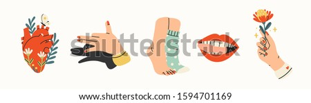 Human body parts. Hand with flower, Shadow puppet barking dog, red lips mouth, legs in wool socks, heart with flowers. Hand drawn colored trendy vector illustration. All elements are isolated