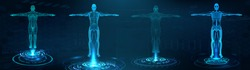 Human body polygonal wireframe and Transparent human body with anatomy of the structure of internal organs. Futuristic hologram scan, 3D x-ray Body in HUD style. Healthcare vector illustration