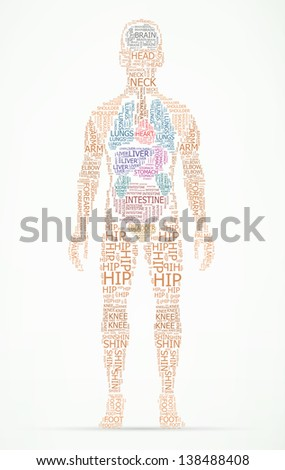 human body wordcloud eps10 vector illustration