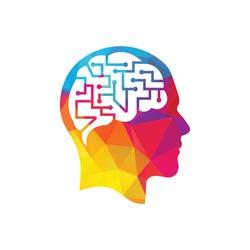 Human brain as digital circuit board. Artificial intelligence icon. Techno human head logo concept creative idea.