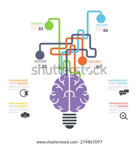 Human Brain Business Solution Concept and Capacity Infographics Arrow Vector Elements Template