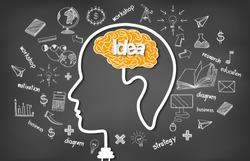 Human brain head creativity icon. sparking idea in business. on blackboard background vector illustration