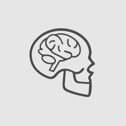 Human brain in skull vector icon. Simple isolated symbol sign outline pictogram.