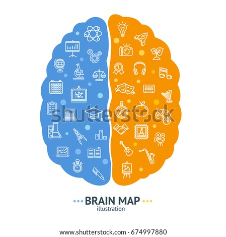 Human Brain Map Concept Left and Right Hemisphere Logic and Emotion Symbol. Vector illustration