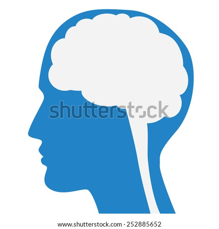 Human brain silhouette with blue face profile, white background, vector.