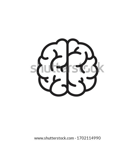 Human brain vector icon illustration, brain symbol in line style isolated on white background,