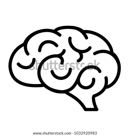 Human brain vector icon illustration isolated on white background
