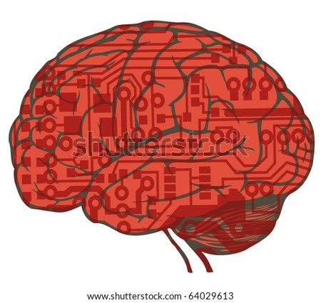 human brain with circuit board draw