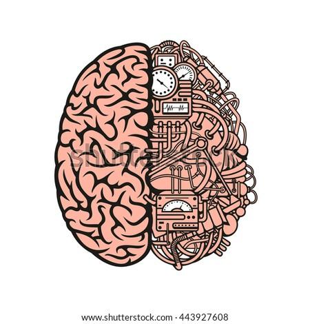 human brain with mechanical