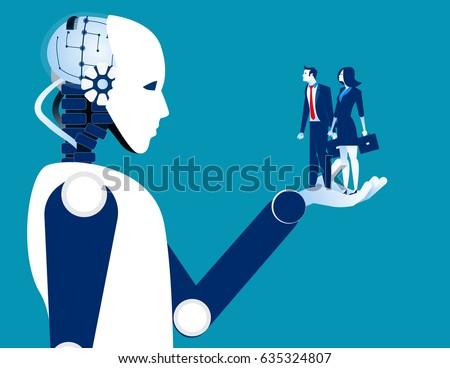 human business in robotic hand