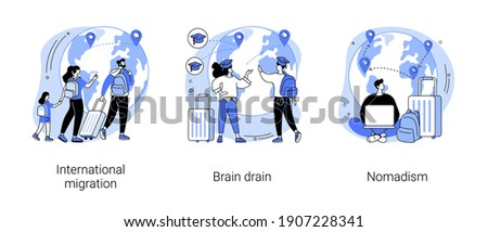 Human capital abstract concept vector illustration set. International migration, brain drain, digital nomad, trained workers, buisness start up, leave country, freelance job abstract metaphor. Stockfoto ©