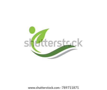 Human character with leaf logo sign illustration vector design