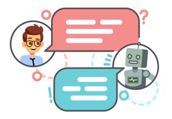 Human conversation with robot on smartphone. Chatting with bot, chatbot vector concept. Robot chat and smart, chatting on mobile phone illustration