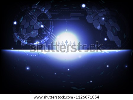 Human cooperation, strategic alliances business pixel galaxy space outside planet business and technology cyberspace concept digital background vector illustration