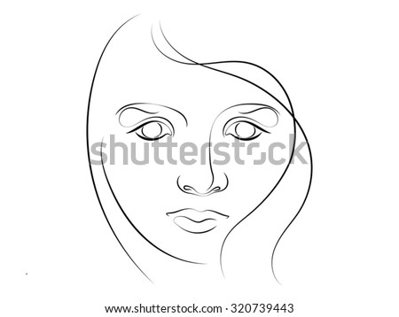human curves series stylized sketch of female face executed in thin