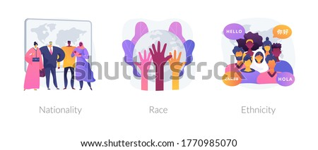 Human diversity abstract concept vector illustration set. Nationality, race and ethnicity, country of birth, passport, social difference, human rights, skin color, genetic code abstract metaphor.