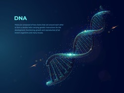 Human DNA abstract dotwork vector illustration made of cloud of colored dots. Digital art on topics of science or medicine. Deoxyribonucleic acid graphic design consists of neon particles.
