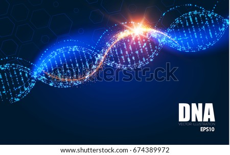 Human DNA Molecule Background. Science Shining Design Template. Vector illustration