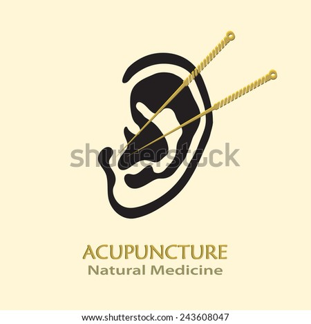 Human Ear with Acupuncture Needles vector icon. Medical procedure illustration. Business sign template for Acupuncture, Chinese Traditional / Alternative Medicine, Natural Healing & Recreation.