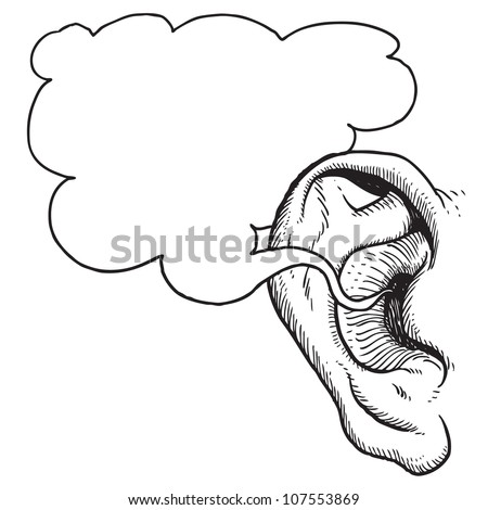 Human ear with speech bubble