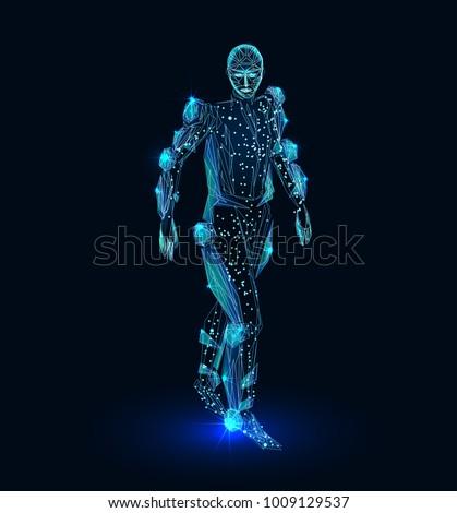 Human exoskeleton. Polygonal futuristic design.