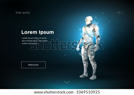 Human exoskeleton. Polygonal futuristic design. Robot  low poly wireframe mesh. Artificial Intelligence  brain cyber security  cyberspace futuristic // vector, eps10