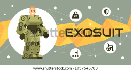 Human exoskeleton technology illustration banner flat style