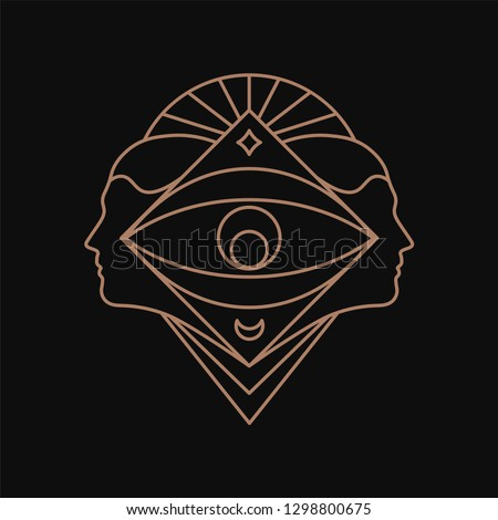 Human eye geometric symbol. Line art
