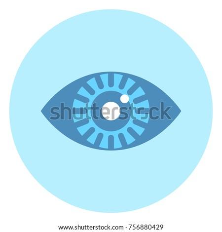 human eye icon on blue round