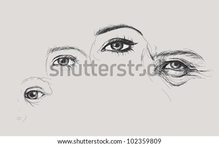 Human eye is changing in time / Realistic vector sketch