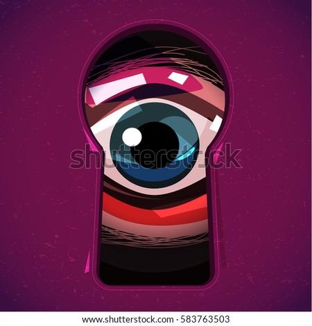 human eye looking through a