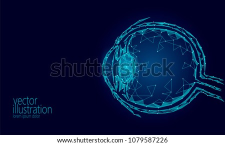 Human eyeball 3D render low poly. Polygonal blue future medicine technology science medical poster. Vision ophthalmology health eye world day vector illustration