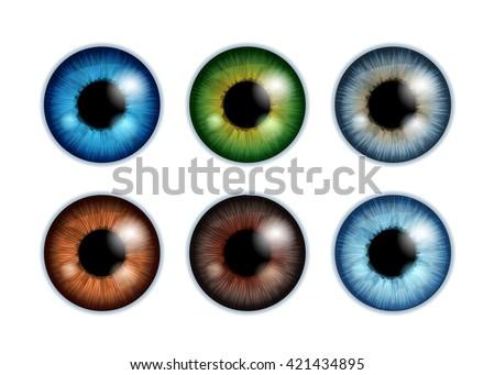 human eyeballs iris pupils set