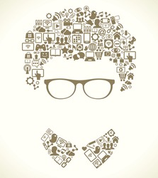 human face is made up of a computer network icon. social media, communication in the global computer networks. Vector illustration