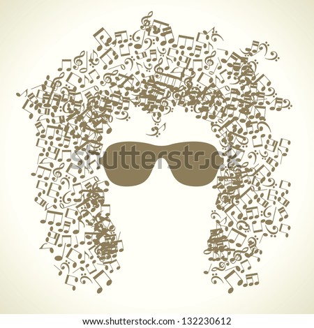 human face is made up of musical notes. concept of music. Vector illustration