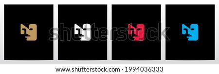 Human Face On Letter Logo Design N Foto stock ©