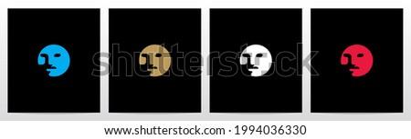 Human Face On Letter Logo Design O Foto stock ©