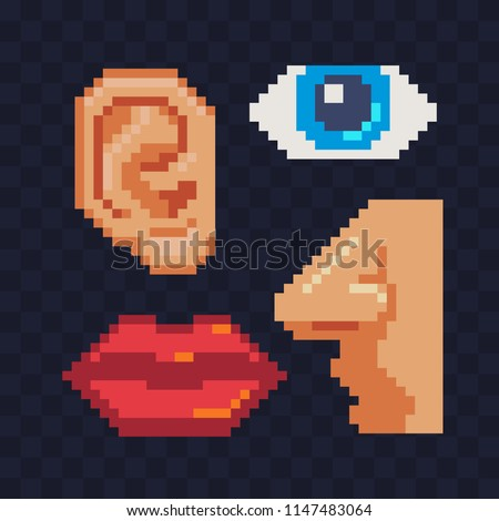 Human face parts 4 sense organs pixel art icons, eye nose mouth and ear risolated vector illustration. Design stickers, logo, app, science, medicine,.education. 8-bit sprite.