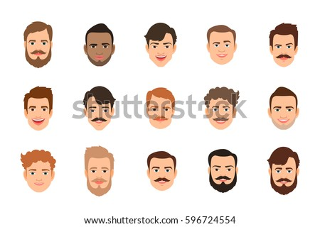 77638ad067c Human face set vector illustration. Male portrait or young man faces with  various hairstyle
