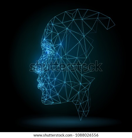 Human face, triangular grid, technology