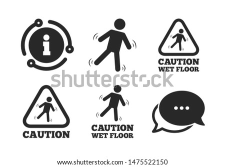 Human falling triangle symbol. Chat, info sign. Caution wet floor icons. Slippery surface sign. Classic style speech bubble icon. Vector