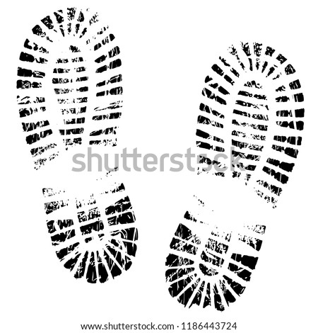 Human feet print, footprints shoe silhouette. Isolated on white background, vector icon. Footstep, steps, trail, sneaker, boot