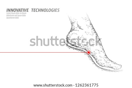 Human feet toe 3D low poly render. Polygonal white medical healthcare painful area. Medicine poster triangle point line leg anatomical woman foot vector illustration
