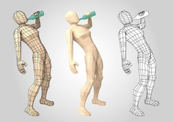 Human figure drinking from a bottle. Wireframe. Wire mesh. Vector illustration